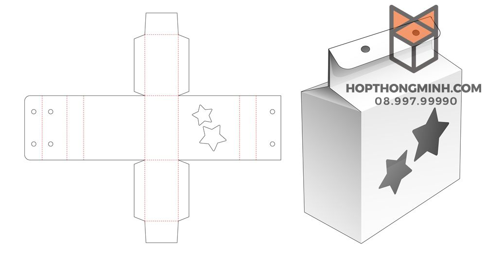 Cardboard snack packaging with stars window and rope hole die cut template